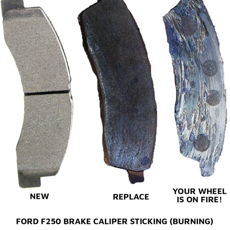 Ford F250 Brake Caliper Sticking - Burned Brake Pad